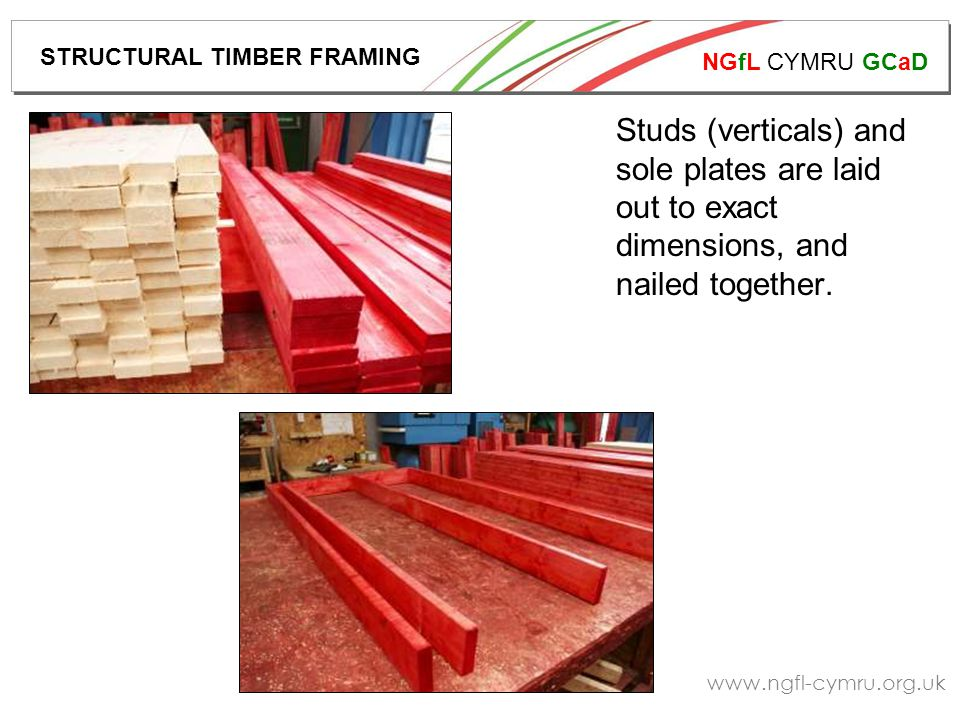 NGfL CYMRU GCaD www.ngfl-cymru.org.uk Studs (verticals) and sole plates are laid out to exact dimensions, and nailed together.