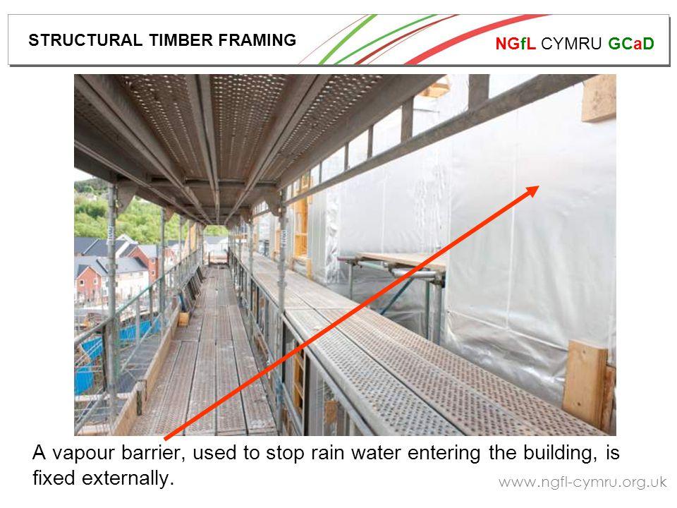 NGfL CYMRU GCaD www.ngfl-cymru.org.uk A vapour barrier, used to stop rain water entering the building, is fixed externally.