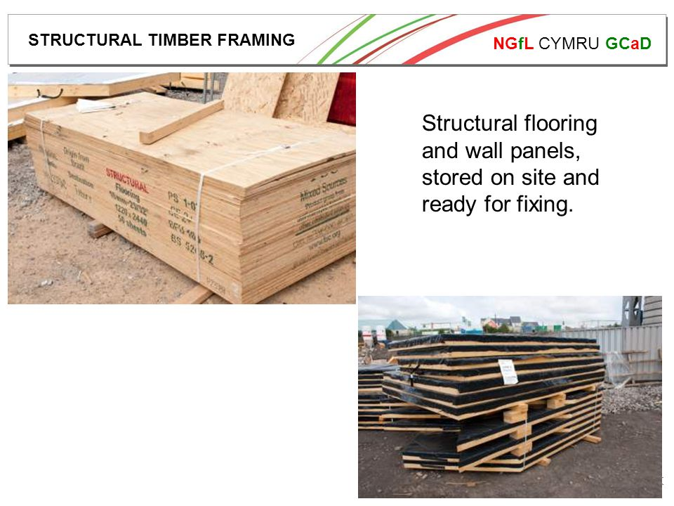 NGfL CYMRU GCaD www.ngfl-cymru.org.uk Structural flooring and wall panels, stored on site and ready for fixing.