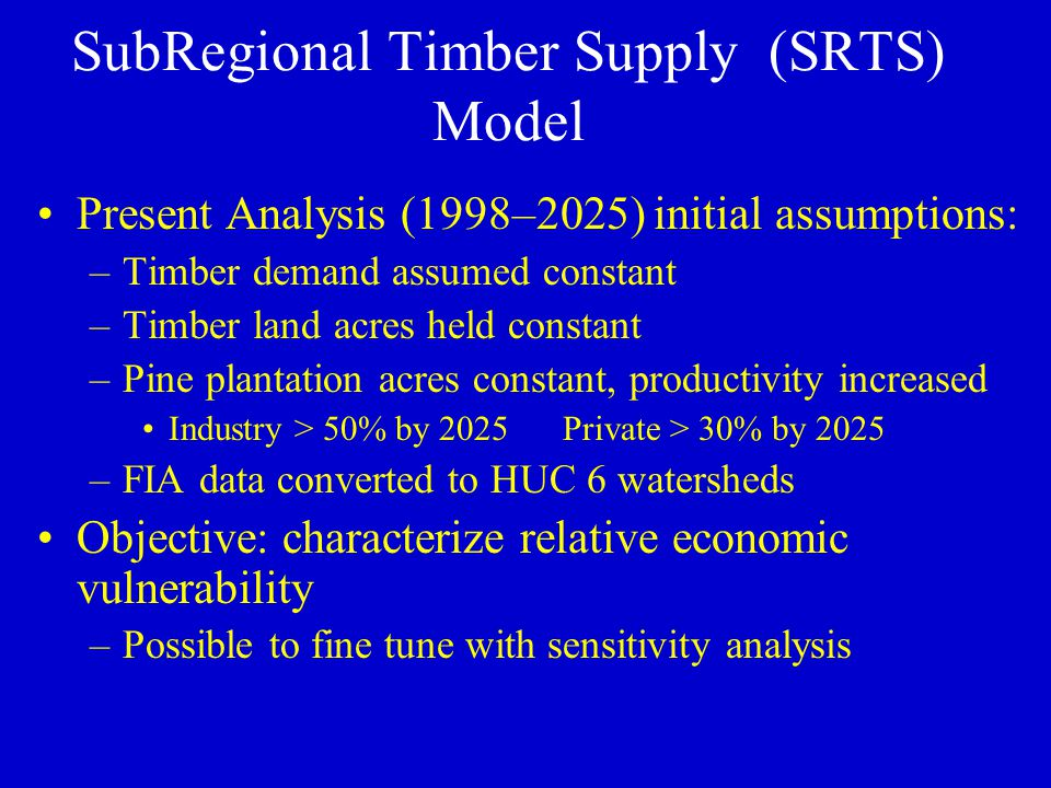 Present Analysis (1998–2025) initial assumptions: –Timber demand assumed constant –Timber land acres held constant –Pine plantation acres constant, productivity increased Industry > 50% by 2025Private > 30% by 2025 –FIA data converted to HUC 6 watersheds Objective: characterize relative economic vulnerability –Possible to fine tune with sensitivity analysis SubRegional Timber Supply (SRTS) Model