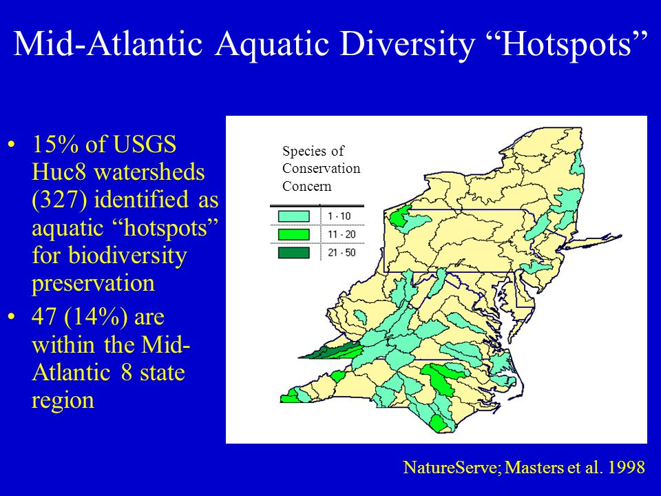 Mid-Atlantic Aquatic Diversity Hotspots 15% of USGS Huc8 watersheds (327) identified as aquatic hotspots for biodiversity preservation 47 (14%) are within the Mid- Atlantic 8 state region Species of Conservation Concern NatureServe; Masters et al.