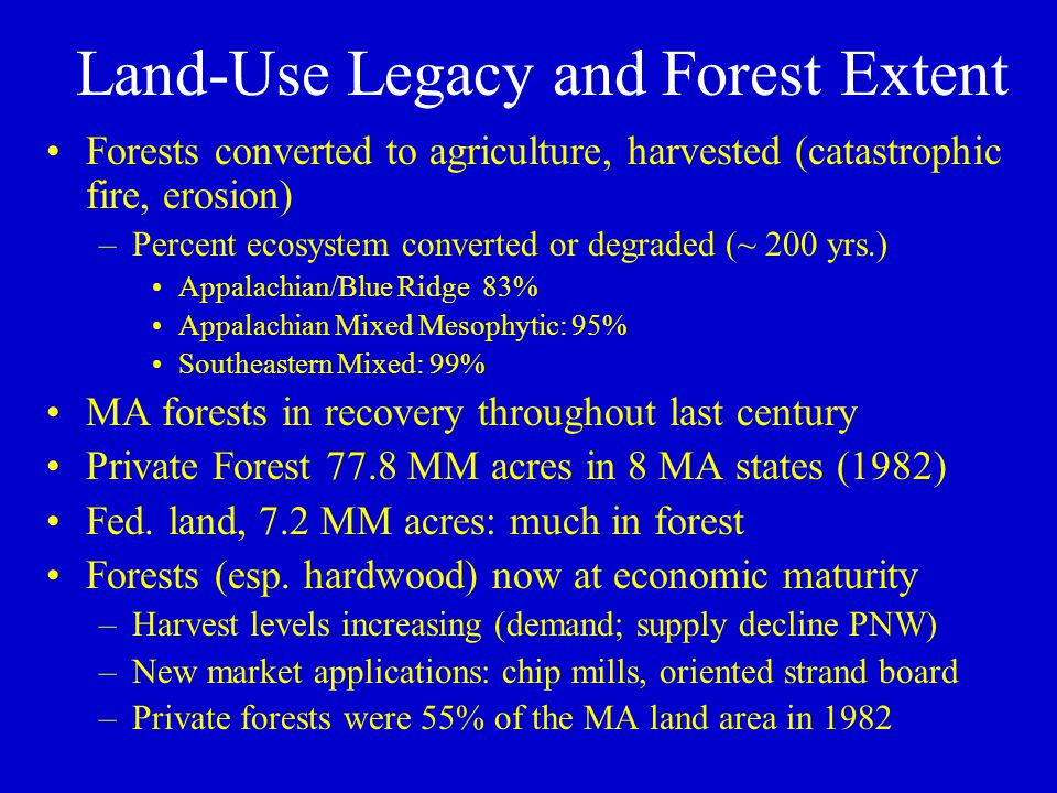 Land-Use Legacy and Forest Extent Forests converted to agriculture, harvested (catastrophic fire, erosion) –Percent ecosystem converted or degraded (~ 200 yrs.) Appalachian/Blue Ridge 83% Appalachian Mixed Mesophytic: 95% Southeastern Mixed: 99% MA forests in recovery throughout last century Private Forest 77.8 MM acres in 8 MA states (1982) Fed.