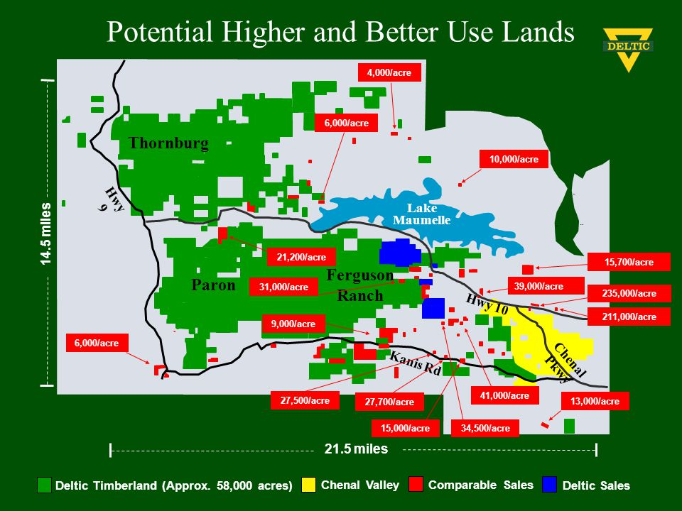 Potential Higher and Better Use Lands Comparable Sales Deltic SalesDeltic Timberland (Approx. 58,000 acres) Chenal Valley