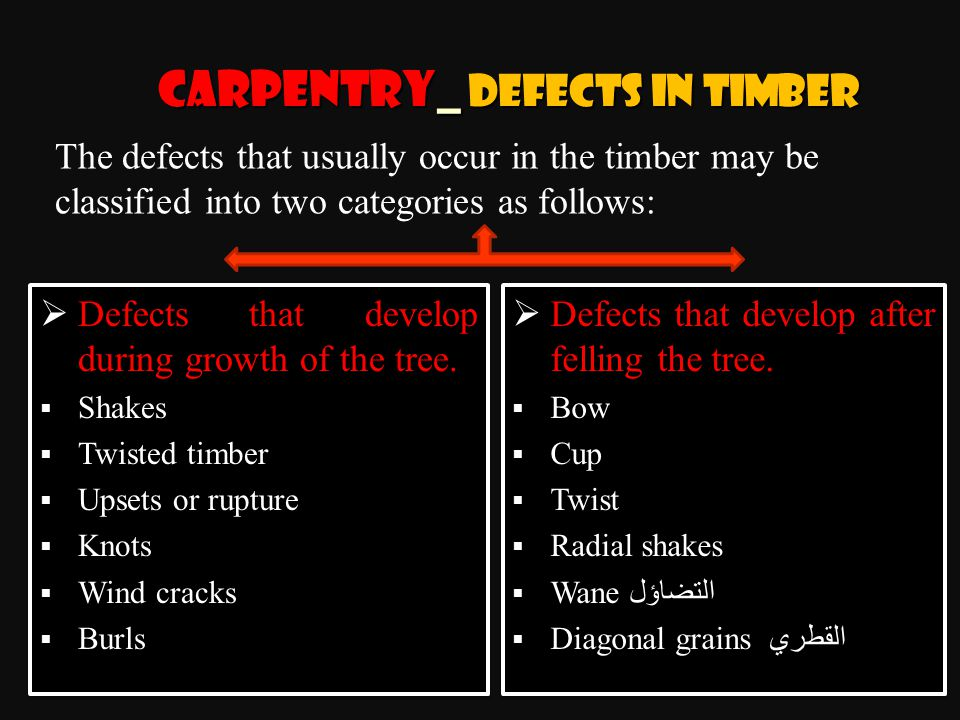 Carpentry_ Defects in Timber  Defects that develop after felling the tree.