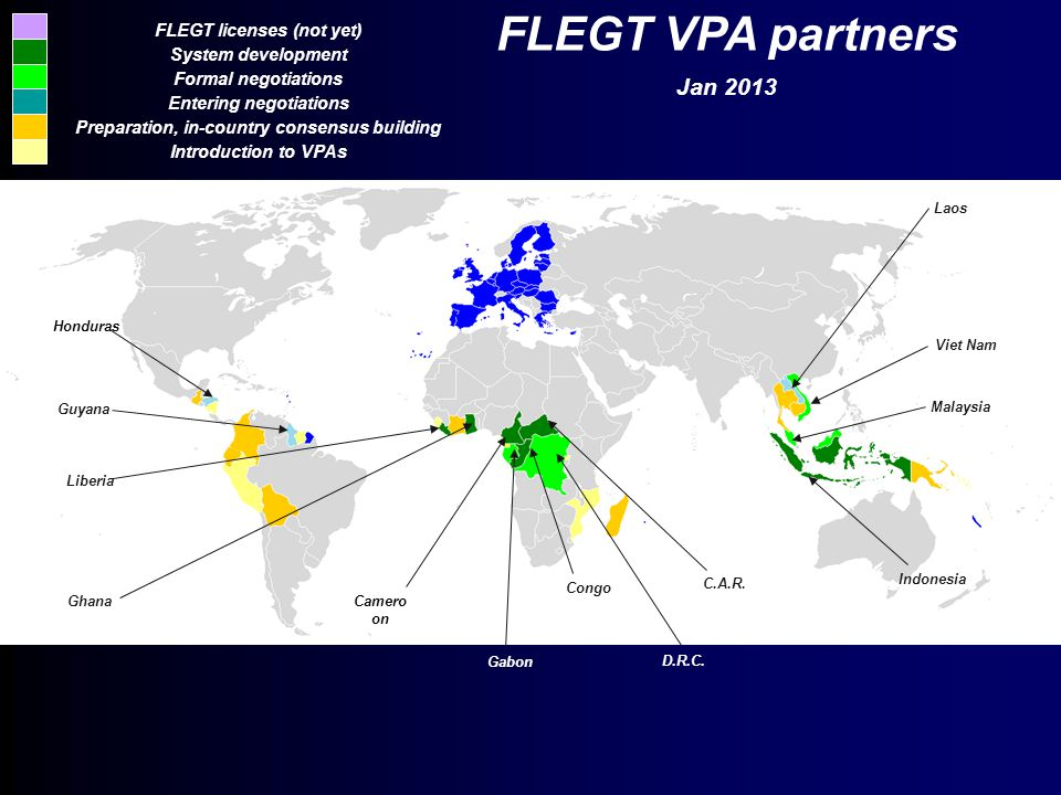 FLEGT licenses (not yet) System development Formal negotiations Entering negotiations Preparation, in-country consensus building Introduction to VPAs Congo C.A.R..