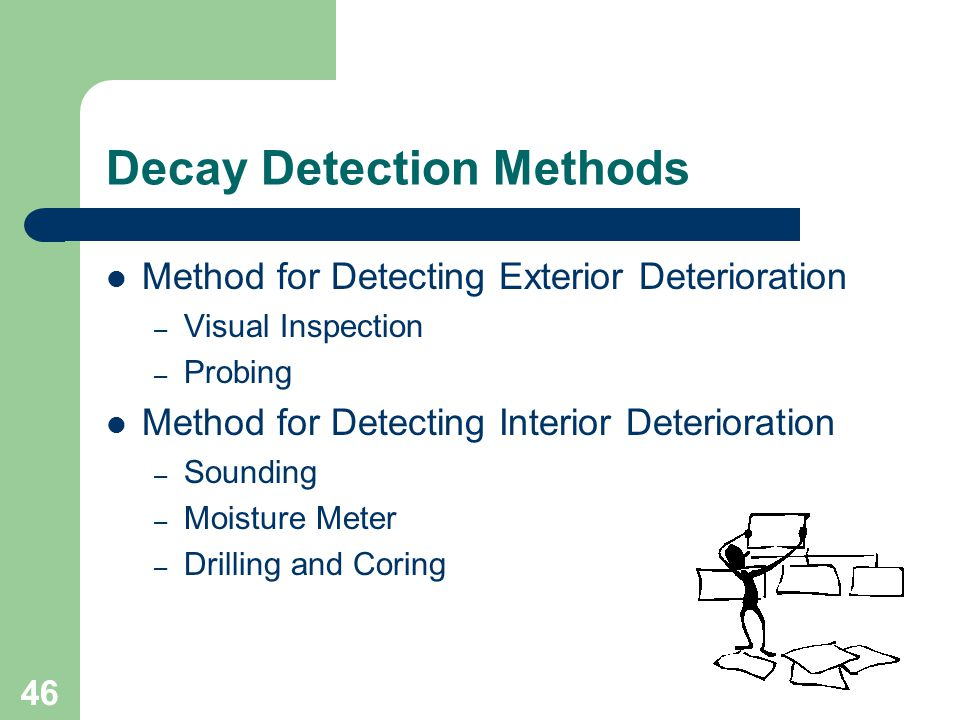46 Decay Detection Methods Method for Detecting Exterior Deterioration – Visual Inspection – Probing Method for Detecting Interior Deterioration – Sou