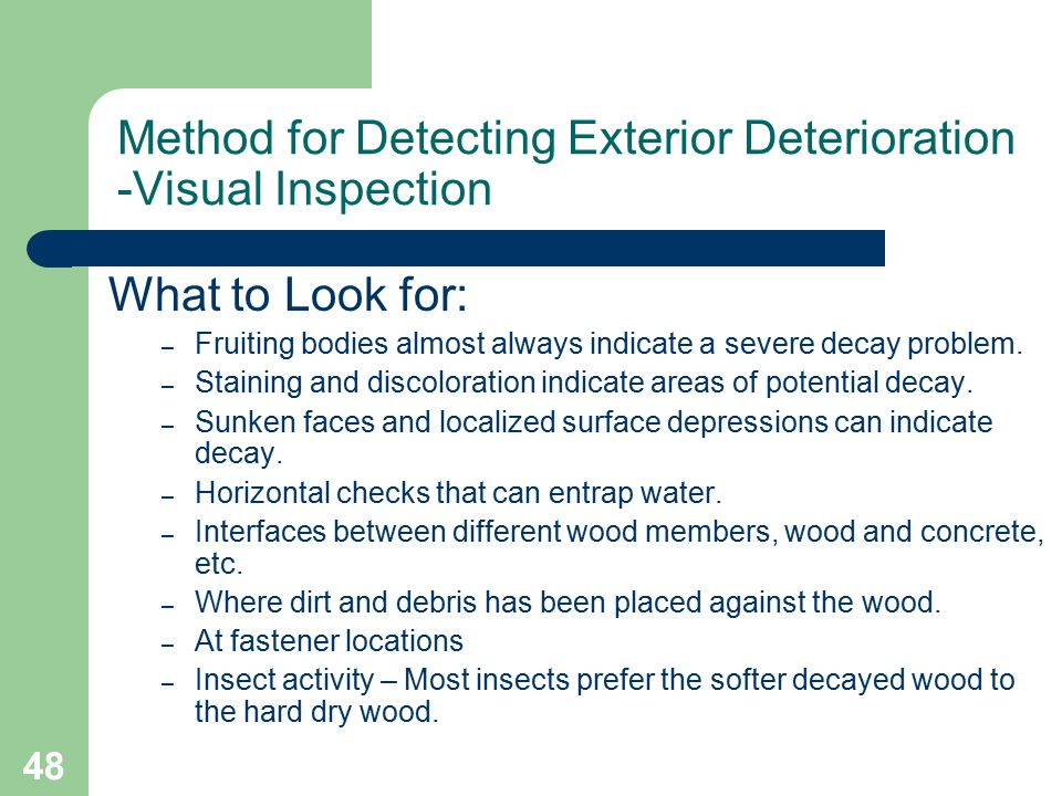 48 Method for Detecting Exterior Deterioration -Visual Inspection What to Look for: – Fruiting bodies almost always indicate a severe decay problem. –