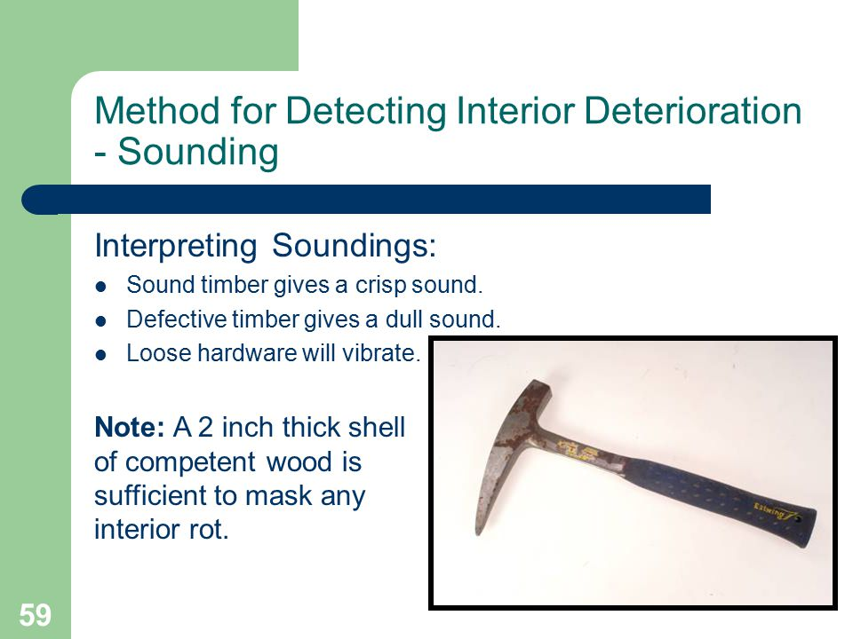 59 Method for Detecting Interior Deterioration - Sounding Interpreting Soundings: Sound timber gives a crisp sound. Defective timber gives a dull soun