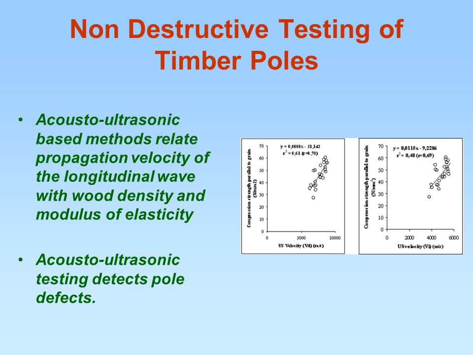 Non Destructive Testing of Timber Poles Acousto-ultrasonic based methods relate propagation velocity of the longitudinal wave with wood density and modulus of elasticity Acousto-ultrasonic testing detects pole defects.
