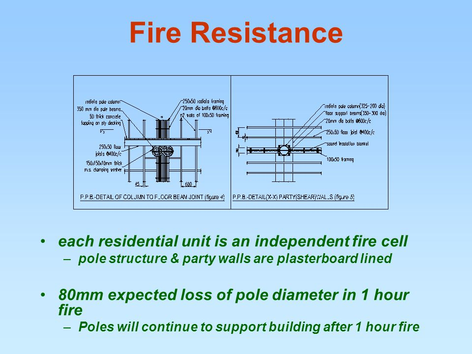 Fire Resistance each residential unit is an independent fire cell –pole structure & party walls are plasterboard lined 80mm expected loss of pole diameter in 1 hour fire –Poles will continue to support building after 1 hour fire