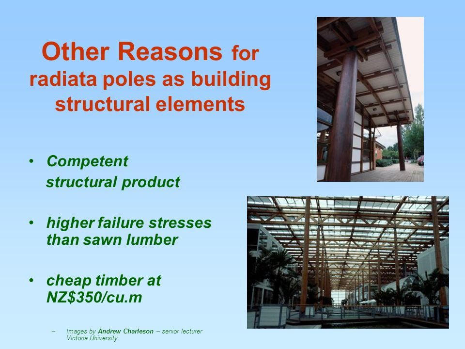 Other Reasons for radiata poles as building structural elements Competent structural product higher failure stresses than sawn lumber cheap timber at NZ$350/cu.m –Images by Andrew Charleson – senior lecturer Victoria University