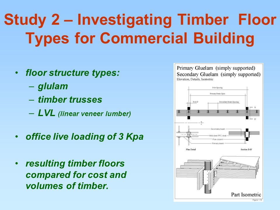 Study 2 – Investigating Timber Floor Types for Commercial Building floor structure types: –glulam –timber trusses –LVL (linear veneer lumber) office live loading of 3 Kpa resulting timber floors compared for cost and volumes of timber.