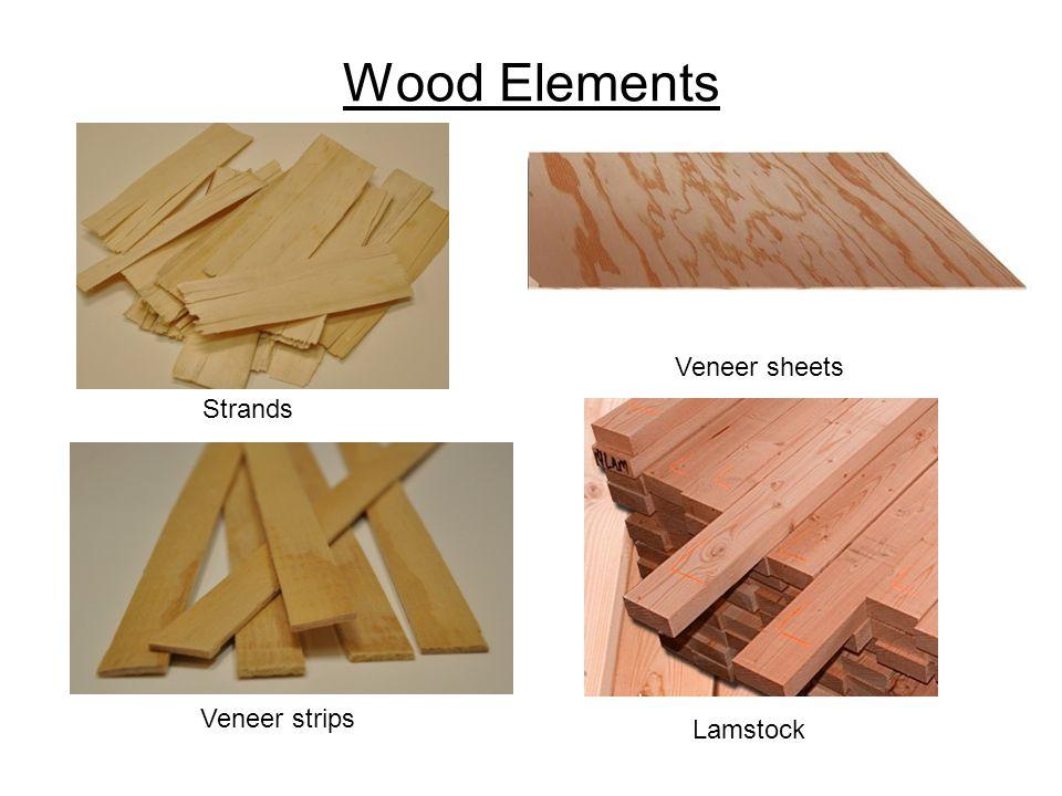 Strands Veneer sheets Veneer strips Lamstock Wood Elements