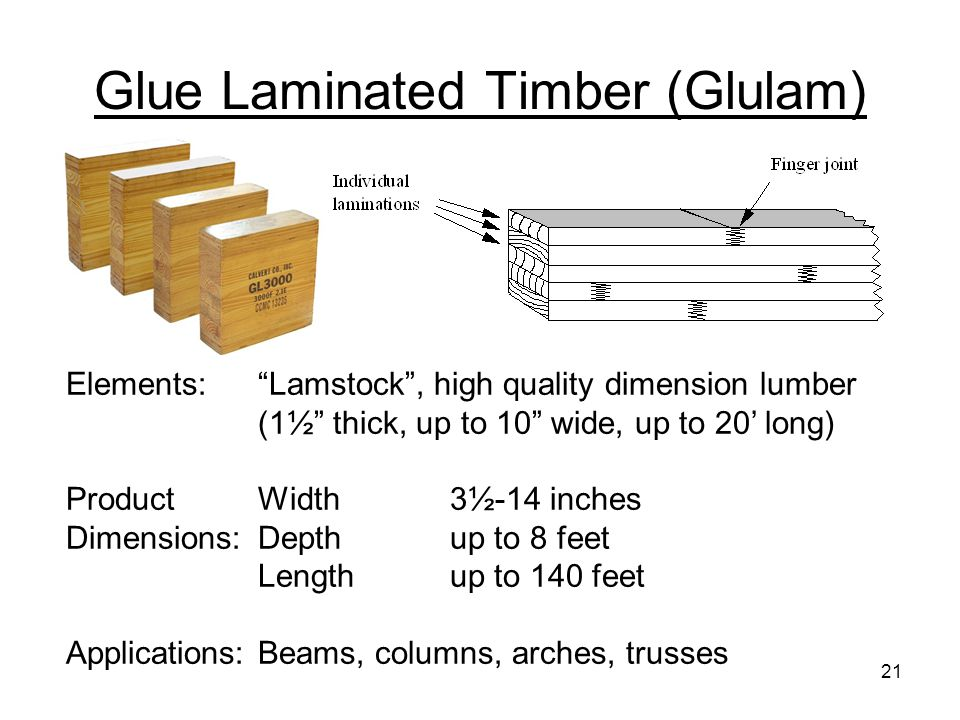 """Glue Laminated Timber (Glulam) Elements:""""Lamstock"""", high quality dimension lumber (1½"""" thick, up to 10"""" wide, up to 20' long) ProductWidth3½-14 inches"""