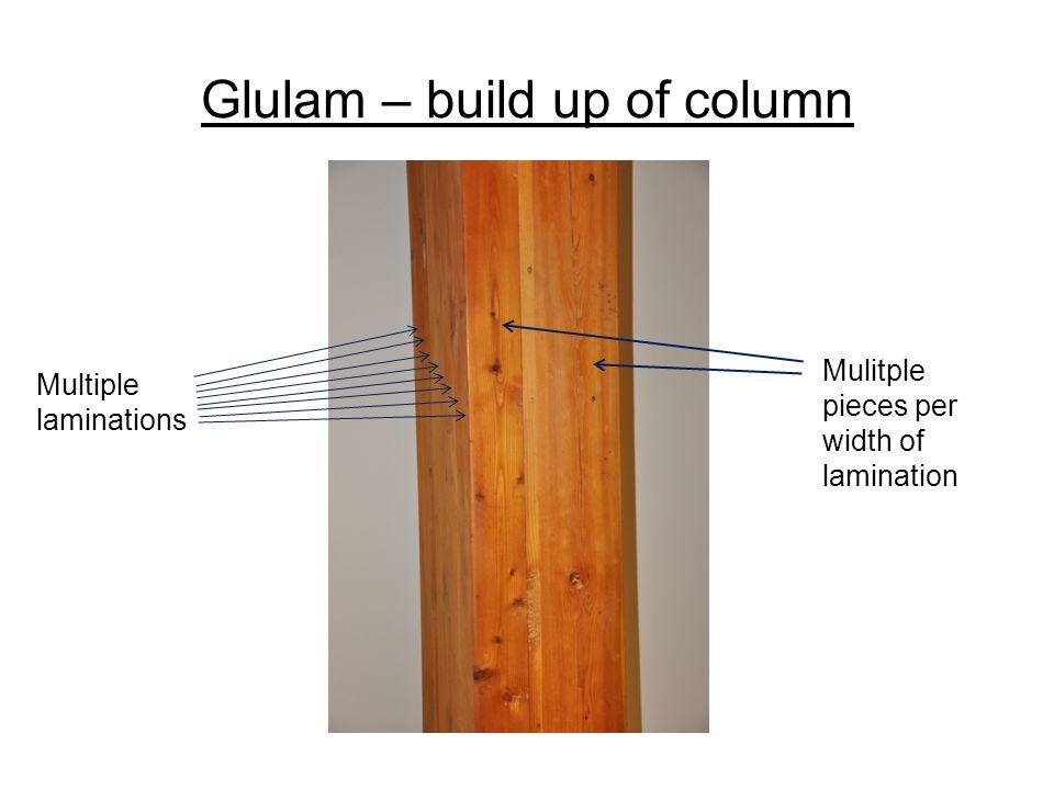 Multiple laminations Mulitple pieces per width of lamination Glulam – build up of column