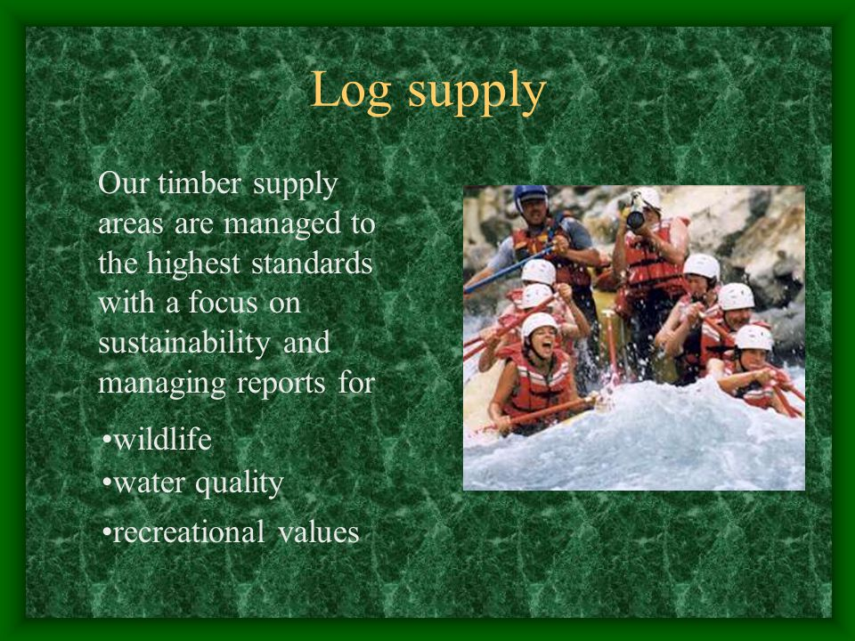 Our timber supply areas are managed to the highest standards with a focus on sustainability and managing reports for Log supply wildlife water quality recreational values