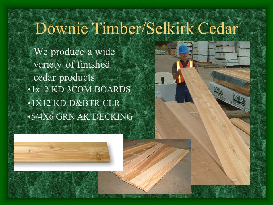 Producing cedar every day allows us to service our customer's needs in a timely manner Downie Timber/Selkirk Cedar