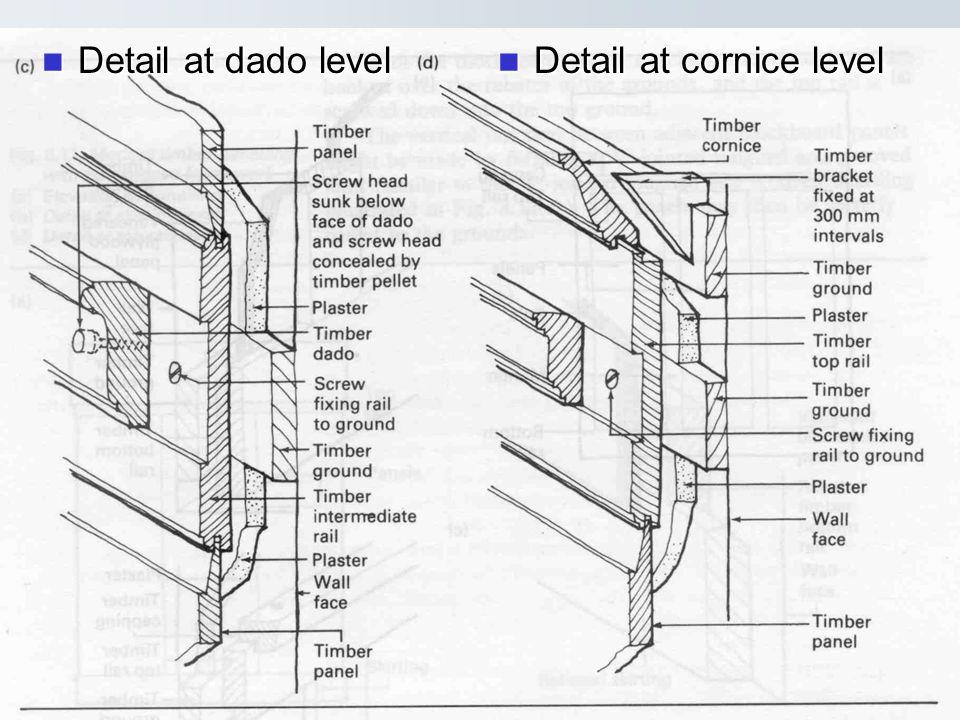 Detail at dado level Detail at dado level Detail at cornice level Detail at cornice level