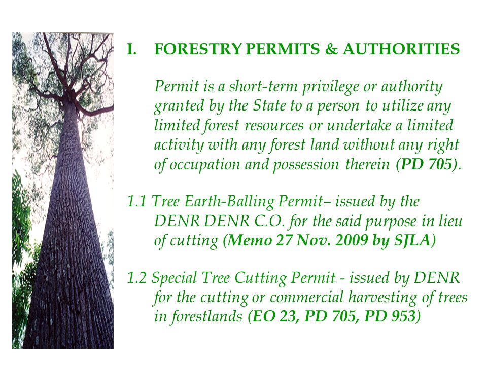 I.FORESTRY PERMITS & AUTHORITIES Permit is a short-term privilege or authority granted by the State to a person to utilize any limited forest resource