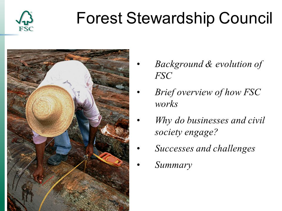 Background & evolution of FSC Brief overview of how FSC works Why do businesses and civil society engage.
