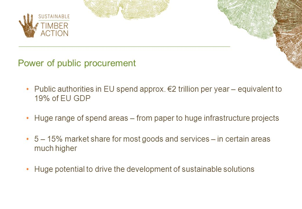 Power of public procurement Public authorities in EU spend approx.