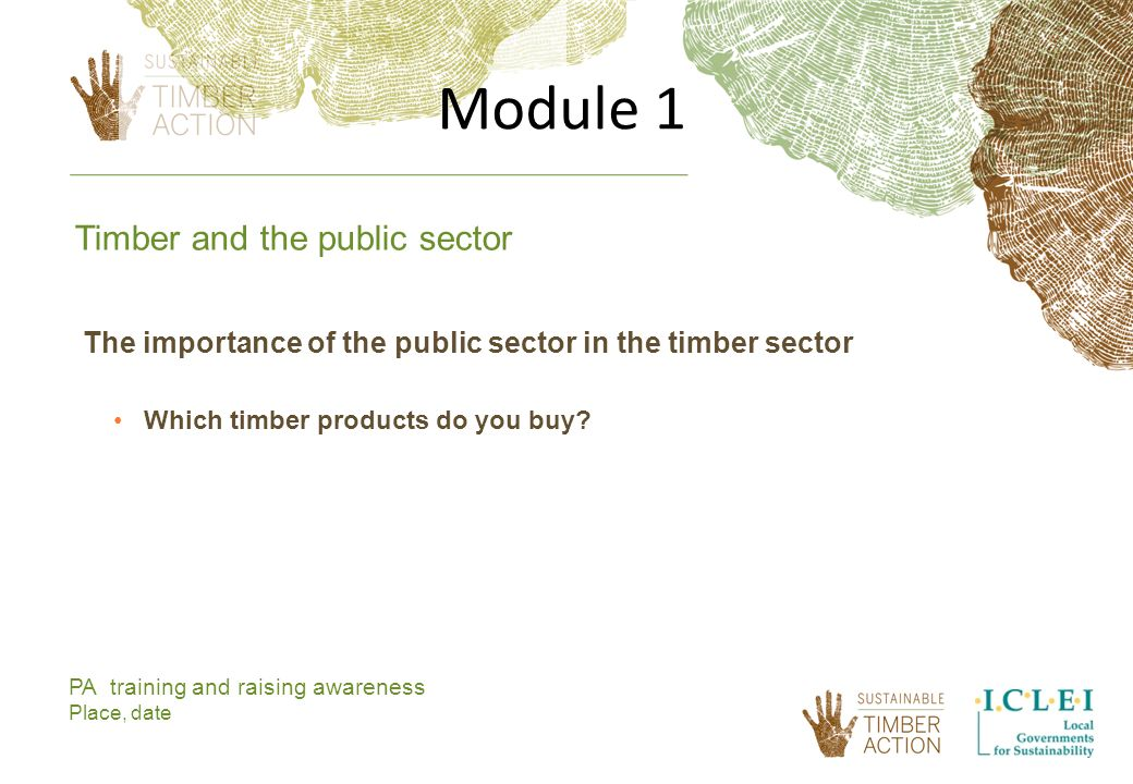 Module 1 PA training and raising awareness Place, date The importance of the public sector in the timber sector Which timber products do you buy.