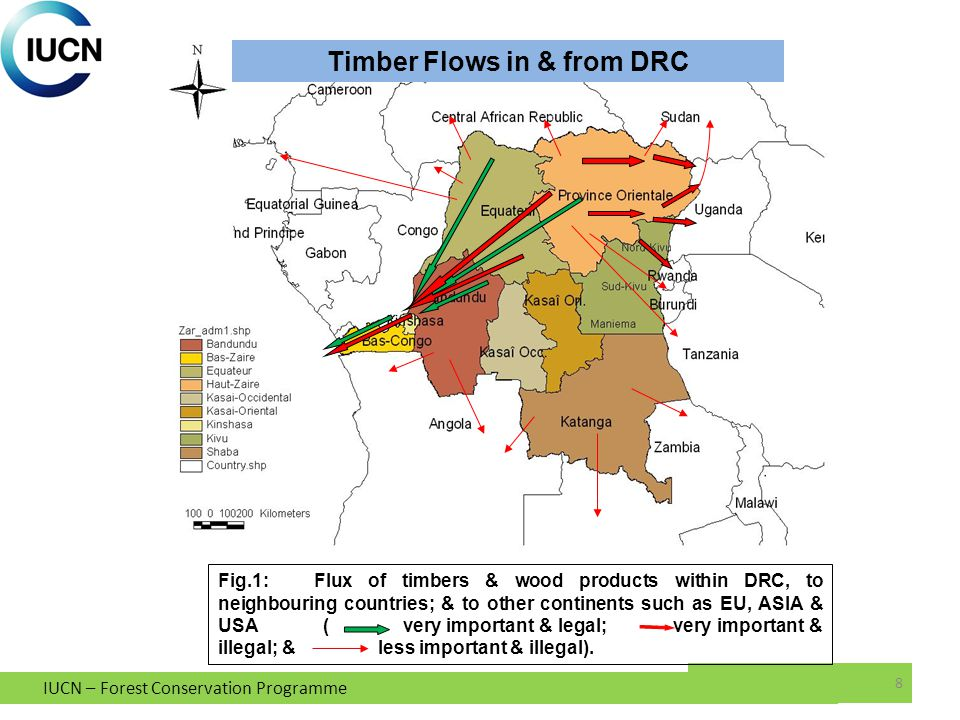 IUCN – Forest Conservation Programme 8 Fig.1:Flux of timbers & wood products within DRC, to neighbouring countries; & to other continents such as EU, ASIA & USA ( very important & legal; very important & illegal; & less important & illegal).