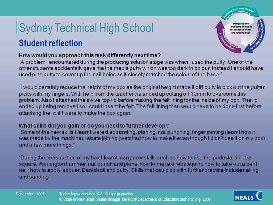 Sydney Technical High School How would you approach this task differently next time.