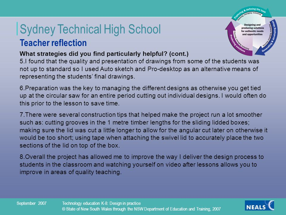 Sydney Technical High School What strategies did you find particularly helpful.