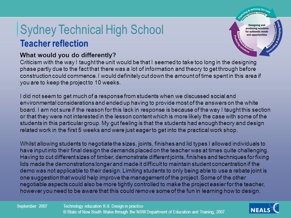 Sydney Technical High School What would you do differently.