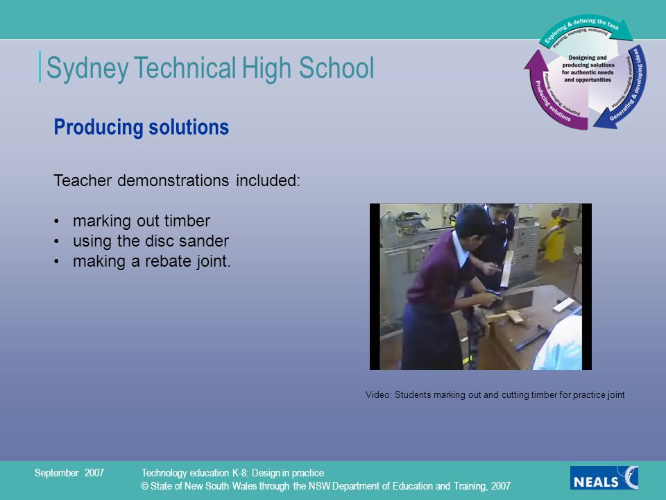 Sydney Technical High School 7 Producing solutions Teacher demonstrations included: marking out timber using the disc sander making a rebate joint.