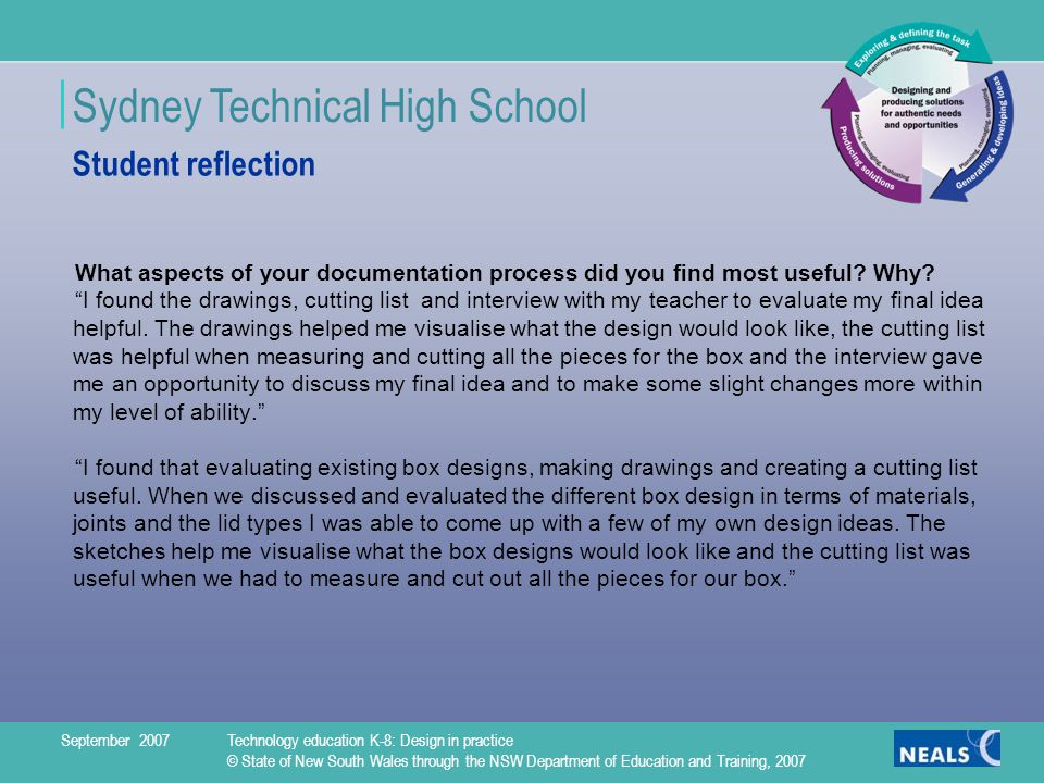 Sydney Technical High School Student reflection What aspects of your documentation process did you find most useful.