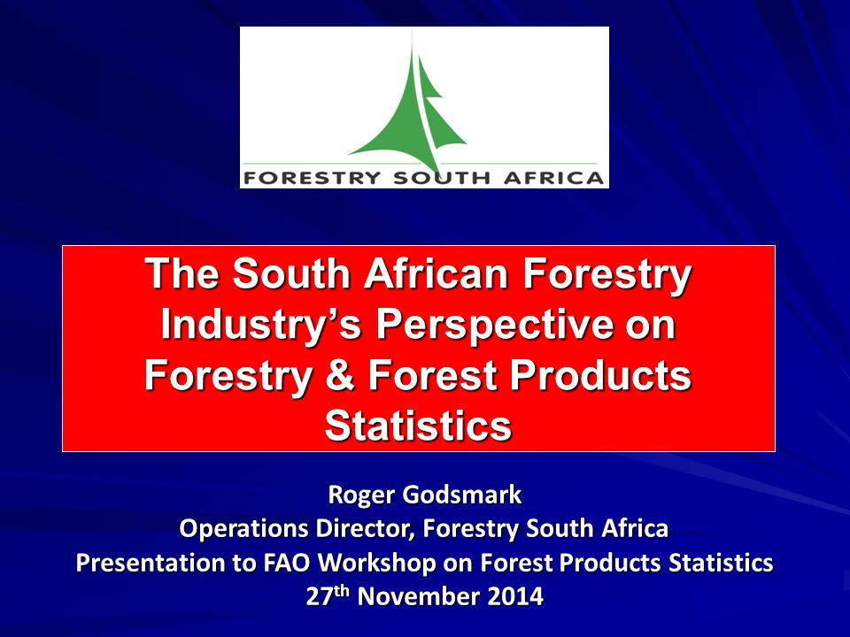 Presentation Outline Background: Forestry South Africa Overview of the Forestry & FP Industry in South Africa Forestry and Forest Products Industry Data in South Africa Conclusion