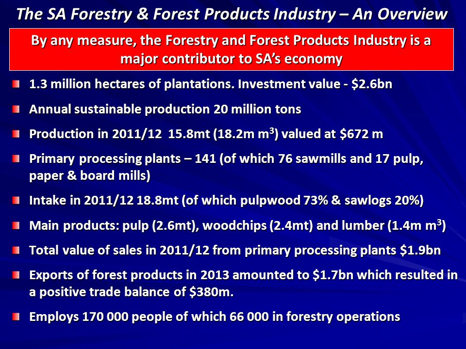The SA Forestry & Forest Products Industry – An Overview 1.3 million hectares of plantations.