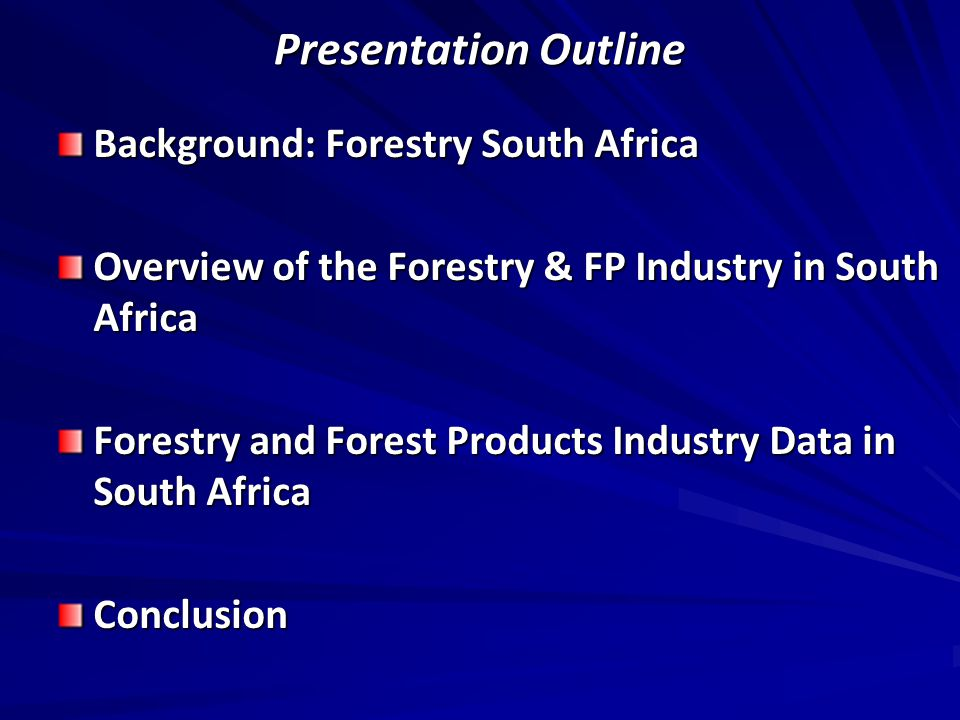 Section 1 Background: Forestry South Africa