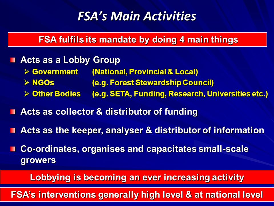 FSA's Main Activities FSA fulfils its mandate by doing 4 main things FSA fulfils its mandate by doing 4 main things Acts as a Lobby Group  Government(National, Provincial & Local)  NGOs(e.g.