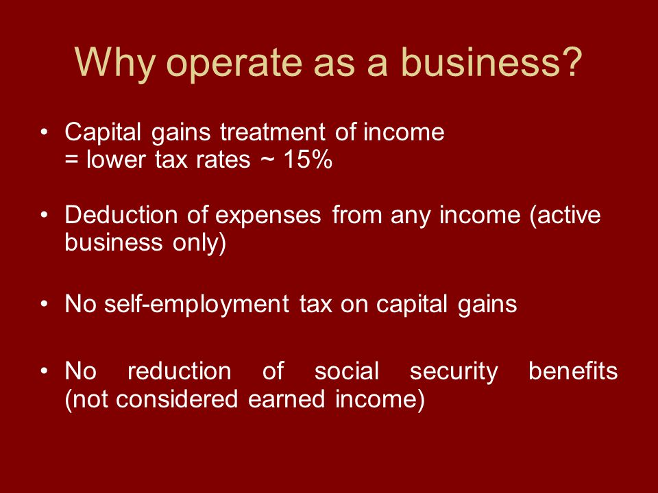 Why operate as a business.