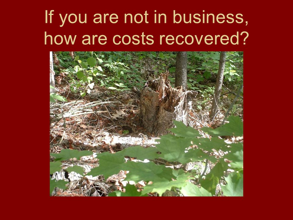 If you are not in business, how are costs recovered