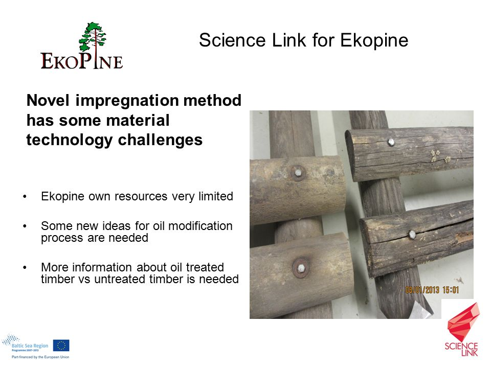 Novel impregnation method has some material technology challenges Ekopine own resources very limited Some new ideas for oil modification process are needed More information about oil treated timber vs untreated timber is needed Science Link for Ekopine