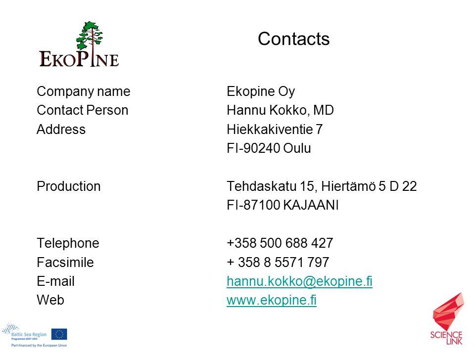 Company nameEkopine Oy Contact PersonHannu Kokko, MD AddressHiekkakiventie 7 FI-90240 Oulu Production Tehdaskatu 15, Hiertämö 5 D 22 FI-87100 KAJAANI Telephone+358 500 688 427 Facsimile+ 358 8 5571 797 E-mailhannu.kokko@ekopine.fihannu.kokko@ekopine.fi Webwww.ekopine.fiwww.ekopine.fi Contacts