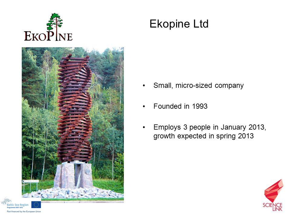 Small, micro-sized company Founded in 1993 Employs 3 people in January 2013, growth expected in spring 2013 Ekopine Ltd