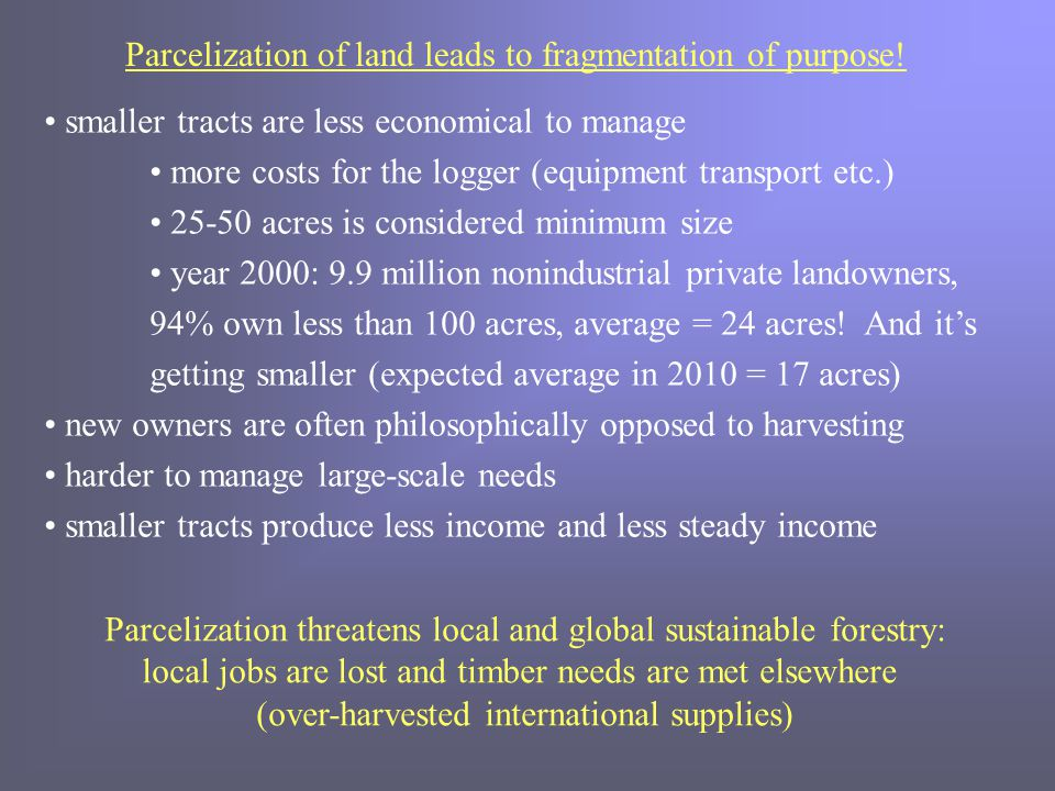 Parcelization of land leads to fragmentation of purpose.