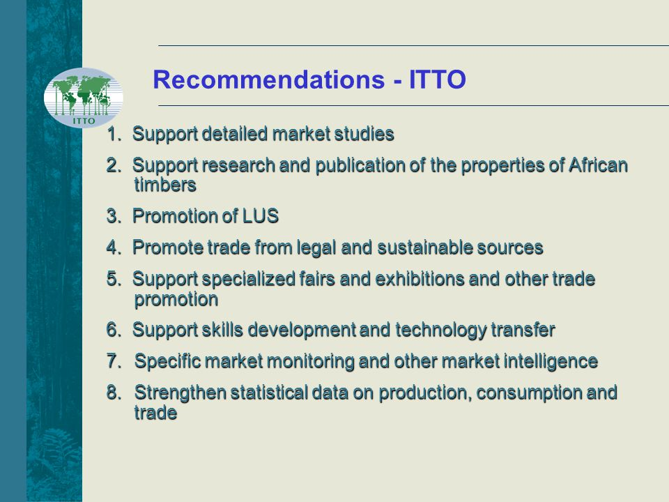 Recommendations - ITTO 1. Support detailed market studies 2.