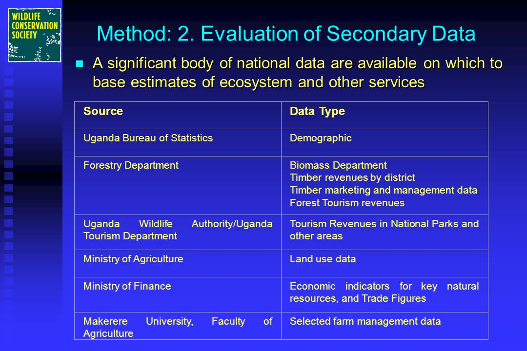 Method: 2. Evaluation of Secondary Data n A significant body of national data are available on which to base estimates of ecosystem and other services