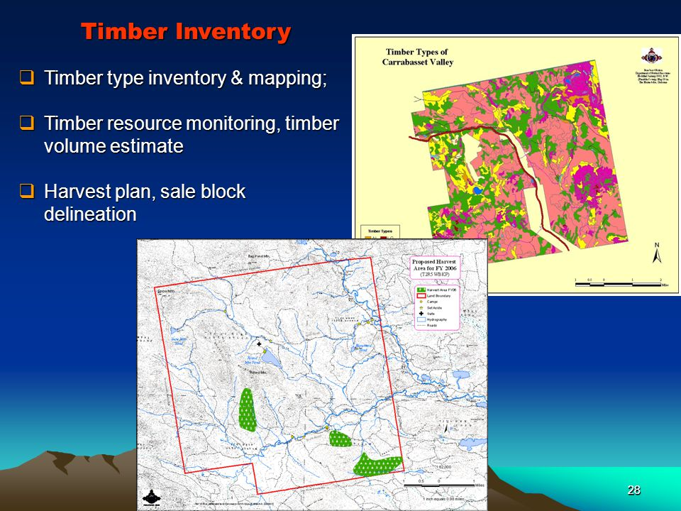 28  Timber type inventory & mapping;  Timber resource monitoring, timber volume estimate  Harvest plan, sale block delineation Timber Inventory 28