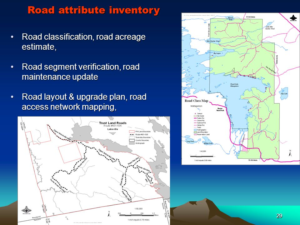 29 Road classification, road acreage estimate,Road classification, road acreage estimate, Road segment verification, road maintenance updateRoad segment verification, road maintenance update Road layout & upgrade plan, road access network mapping,Road layout & upgrade plan, road access network mapping, Road attribute inventory 29