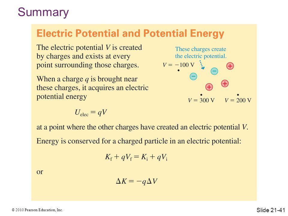 © 2010 Pearson Education, Inc. Summary Slide 21-41