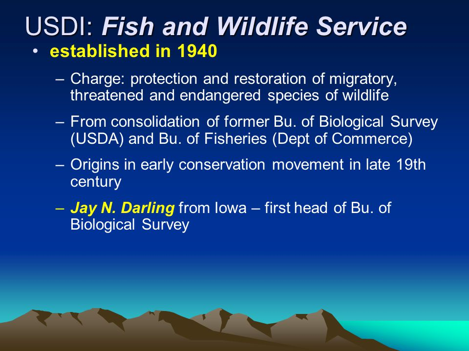 USDI: Fish and Wildlife Service established in 1940 –Charge: protection and restoration of migratory, threatened and endangered species of wildlife –From consolidation of former Bu.