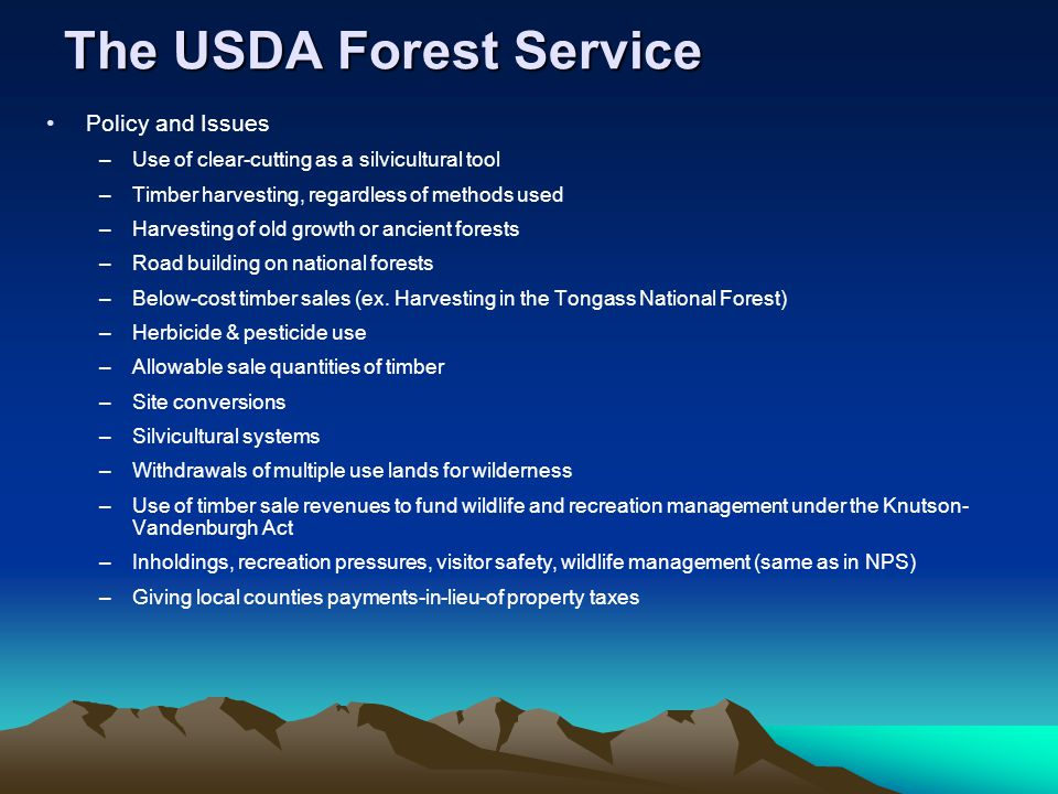 The USDA Forest Service Policy and Issues –Use of clear-cutting as a silvicultural tool –Timber harvesting, regardless of methods used –Harvesting of old growth or ancient forests –Road building on national forests –Below-cost timber sales (ex.