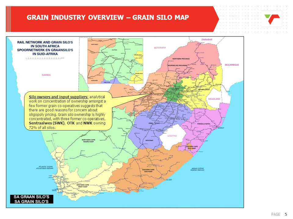 5PAGE GRAIN INDUSTRY OVERVIEW – GRAIN SILO MAP Silo owners and input suppliers: analytical work on concentration of ownership amongst a few former grain co-operatives suggests that there are good reasons for concern about oligopoly pricing.